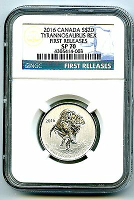 2016 1/4 Oz Canada $20 Silver Tyrannosaurus Rex Ngc Sp70 First Releases