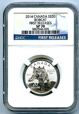 2014 $20 Canada Silver Bobcat Lynx Ngc Sp70 First Releases Blue Label 1/4 Ounce