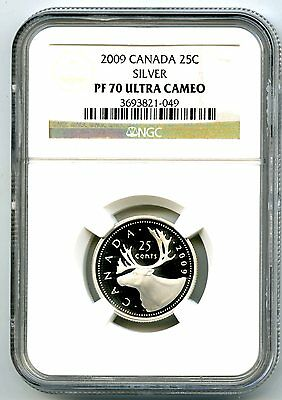 2009 Canada Silver Proof 25 Cent Ngc Pf70 Ucam Quarter Super Rare Only 2 Known