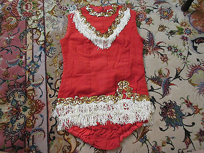 Vintage Red Corduroy w/ Gold Sequence & White Tassles Majorette Costume Outfit