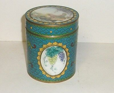 Old Chinese Rare Turquoise Cloisonne Canton Enamel Humidor Jar Canister Box