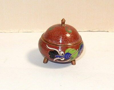 Old Chinese Dragon Designed Cloisonne Red Enamel Opium Censor Snuff Box