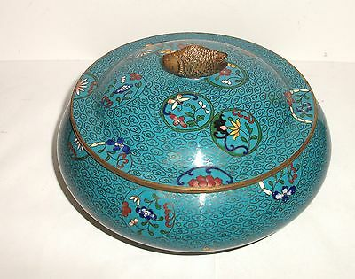 Rare Chinese Bronze Fish Top Cloisonne Turquoise Enamel Floral Jar Bowl Box