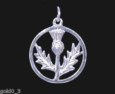 Thistle in Pl. Circle charm Sterling silver 925 charmmakers 3D