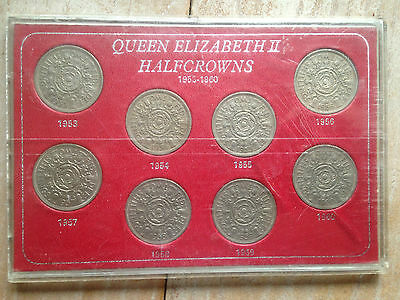 Queen Elizabeth 2Nd 1953-60 Two Shilling Coins - In Display Case