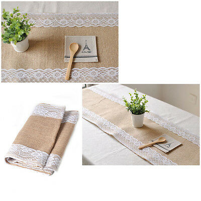 New Burlap Wedding Table Runner Natural Jute Lace Trimmed Decoration 108 x 11""