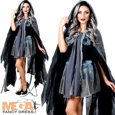 Grey Hooded Cape of Gloom Ladies Fancy Dress Ghost Halloween Costume Accessory