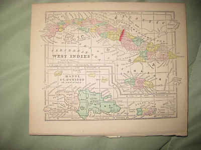 Early Superb Antique 1856 West Indies Map Caribbean Cuba Jamaica Puerto Rico Nr