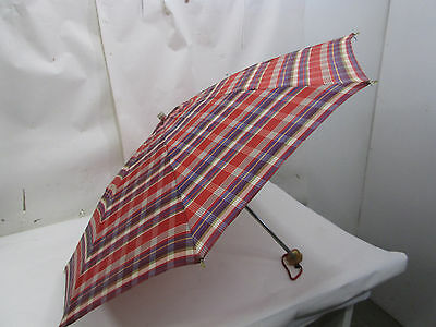 Vintage Red Plaid Umbrella with Lucite Handle