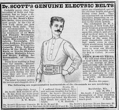 Dr. SCOTT'S ELECTRIC BELTS AND TESTIMONIALS FOR WEAKNESS ASTHMA PAIN DISEASE