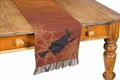 """Xia Home Fashions Witching Hour Halloween Table Runner, 13 by 108"""", Candy Corn"""