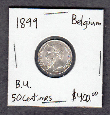 1899 Belgium - 50 Centimes Silver Coin - Uncirculated