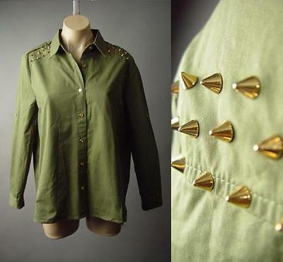 Army Green Military Punk Gold Spike Stud Button Up Cotton Top 185 mv Shirt S M L
