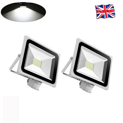 2x 80W LED Floodlight Cool White SMDs PIR Motion Sensor Outdoor Security Lamps
