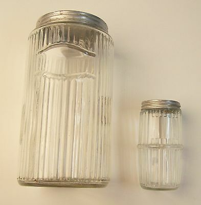 Vintage Ribbed Glass Hooiser Canisters - Large & Small