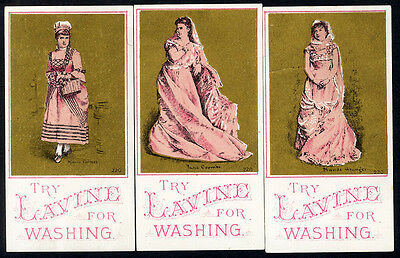 LAVINE Soap 3 Victorian Trade Cards 1880s Pretty Women ACTRESSES in Pink Fashion
