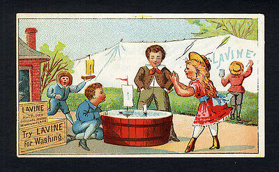 LAVINE Victorian SOAP Trade Card 1880's - Children Playing in Tub of Water