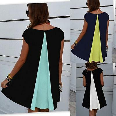 Women Summer Short Sleeve Chiffon Casual Party Evening Cocktail Short Mini Dress