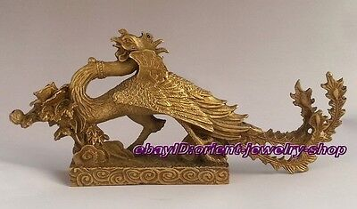 Chinese Ancient Style Chinese Antique Brass Sculpture Phoenix Statue 21cm