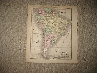 Antique 1856 South America Brazil Argentina Peru Chile Handcolored Morse Map Nr