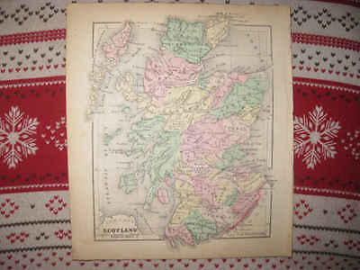 Gorgeous Antique 1856 Scotland Morse Handcolored Map County Detailed Rare Nr