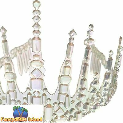 PRINCESS FROZEN ICICLE CROWN GEMS TIARA ladies fancy dress costume accessory