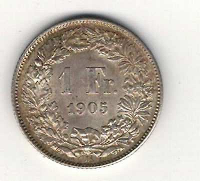 SWITZERLAND. 1905. 1 Franc.  AT LEAST .EF.+  WITH MINT LUSTRE SEE PICTURES
