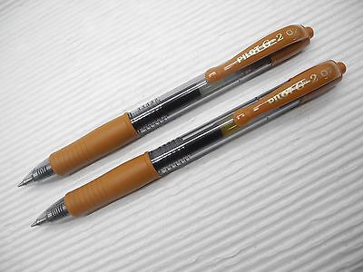 3pcs Pilot retractable G-2 0.7mm fine Roller Ball pen/gel ink Brown(Japan)
