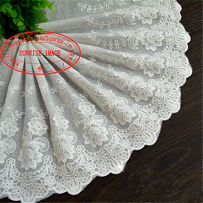 1yard, 22cm Delicate embroidered flower Cotton lace trim Sewing DIY Crafts FL171