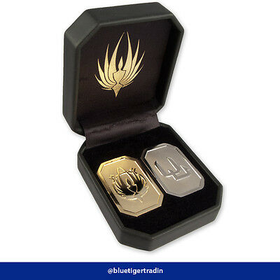 New Leather Box/Gift Box Battlestar Galactica Gold Silver Cubit Set of 2 Coins