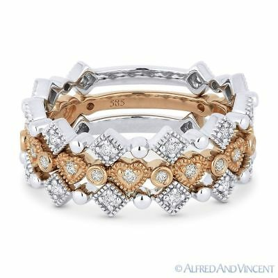 0.42ct Diamond Wedding Band Stackable Anniversary Ring in 14k White & Rose Gold