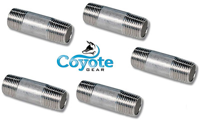 """5 Pack Lot 1/8"""" NPT x 1.5"""" Long 304 Stainless Pipe Thread Nipple Coyote Gear SS"""
