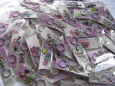 200pcs Quality Assorted Alloy Keyrings on Display Card FREE POST