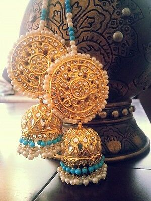 Earrings Jhumka, Turquoise and Gold jewellery Firoza Gold Plated