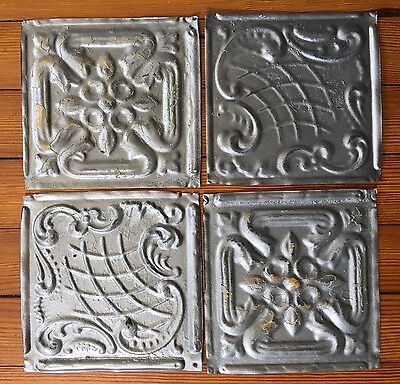 """7 Sets(28) Antique 1890's Tin Ceiling Tiles 4- 6"""" x 6""""  Silver *Private*"""