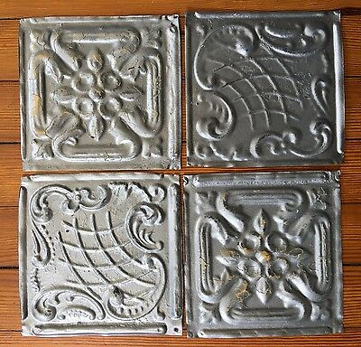 "Antique 1890's Tin Ceiling Tiles 4- 6"" x 6""  Silver SEE OUR SALVAGE VIDEOS D45a"