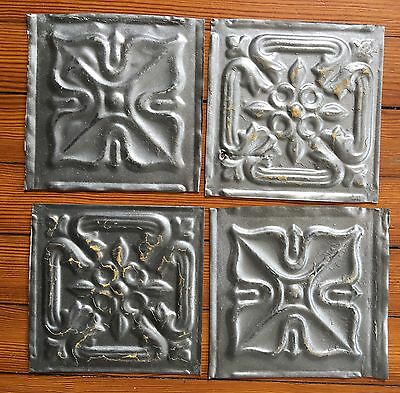 "Antique 1890's Tin Ceiling Tiles 4- 6"" x 6""  Silver SEE OUR SALVAGE VIDEOS D50a"