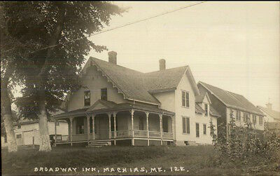 Machias ME Broadway Inn c1915 Real Photo Postcard