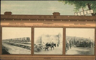 Dalny Dairen China Military Multi-View Captured RR Cars c1910 Postcard