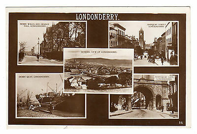 Londonderry - Multiview Real Photo Postcard c1910 / Derry