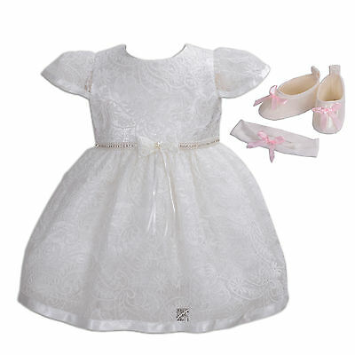 New Girls Ivory Lace Christening Gown Headband and Shoes 3-6 Months