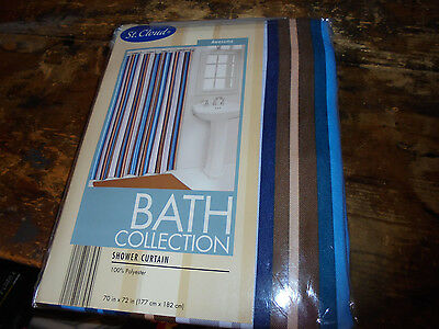 NEW NIP Shower Curtain St. Cloud Bath Collection Awesome brown blue strip simple