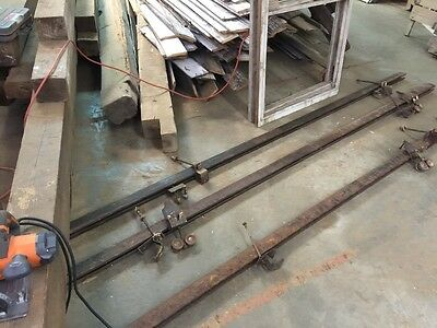 1set Antique INDUSTRIAL SLIDING Barn Door Hardware 10' Track & 2 Roller Brackets