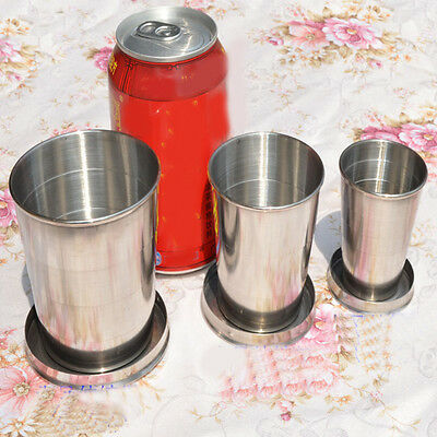 New Stainless Steel Outdoor Portable Travel Folding Cup Collapsible Telescopic