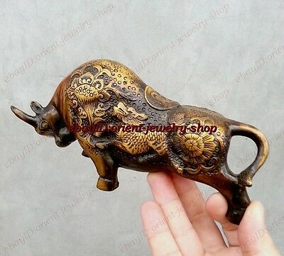 """Worthy Collection! China Antique Bronze Bull Carving """"kylin""""Pattern Carving OX"""