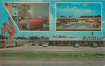 TULSA, OK Oklahoma   The SANDS Motor Hotel RT 66  c1950s Cars Roadside  Postcard