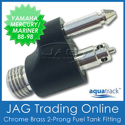 CHROME BRASS FUEL TANK END FITTING -YAMAHA & MERCURY/MARINER- Boat/Outboard Line