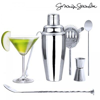 Set 6 Pz Accessori in Acciaio Barman Cocktail Shaker Feste Party bartender bar