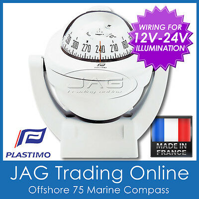 PLASTIMO OFFSHORE 75 WHITE BRACKET MOUNT BOAT/MARINE COMPASS & 12V-24V Lighting