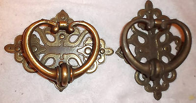 Vintage Solid Brass 2 Pc Door Knocker Set Heavy Ornate